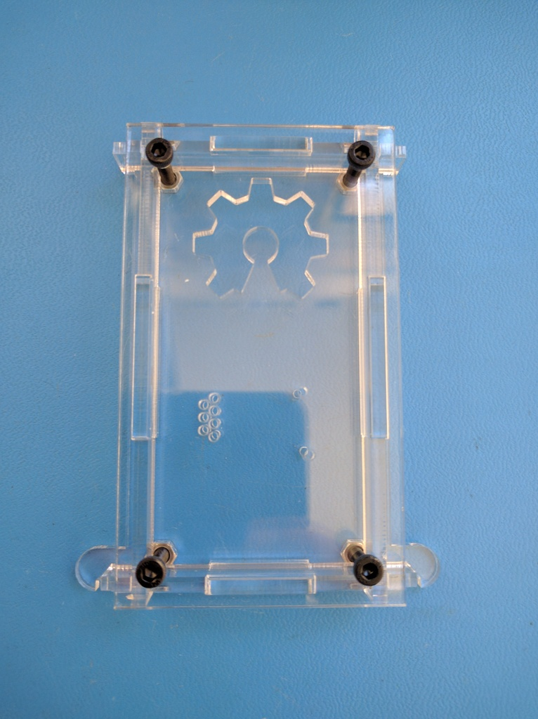 Fasten top panel with M3 screws, don't over tighten. Hex nut should be flush with bottom panel.